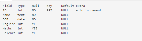 MySQL Describe Students Table