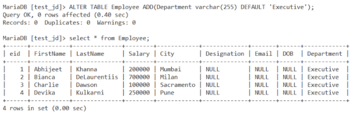Alter Add Column With Default Value