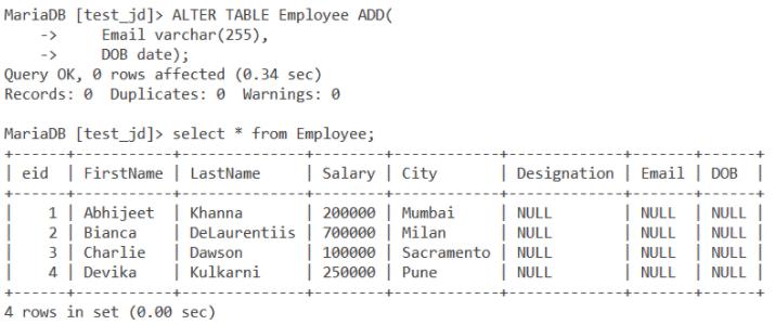 Alter Command Add Multiple Columns 1