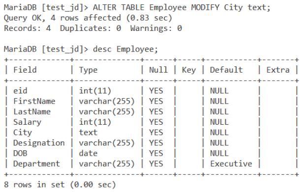 Alter Command Modify Column
