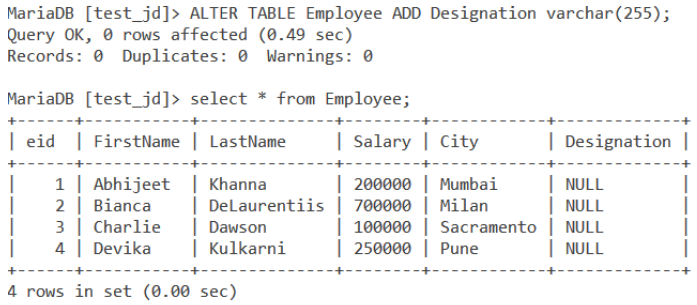 MySQL ALTER Command Single Column