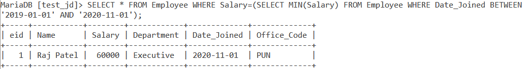 Min With Subqueries