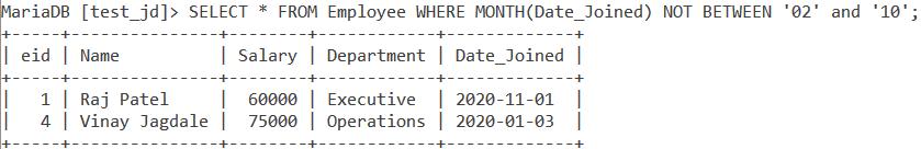 Not Between Date Example 1