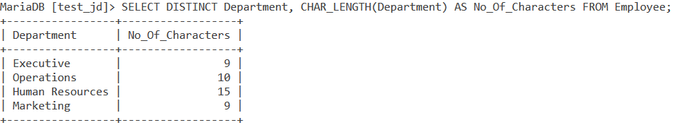 MySQL CharLength Row Value 1