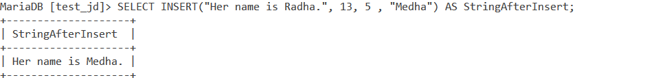 MYSQL Insert Function Example 1