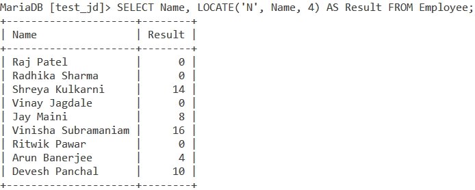 Locate Table Example