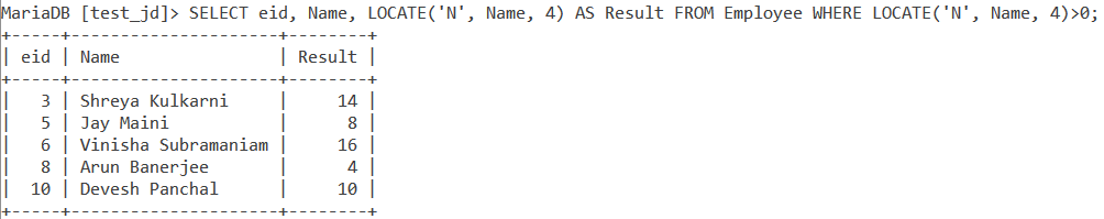 Locate Table Example2