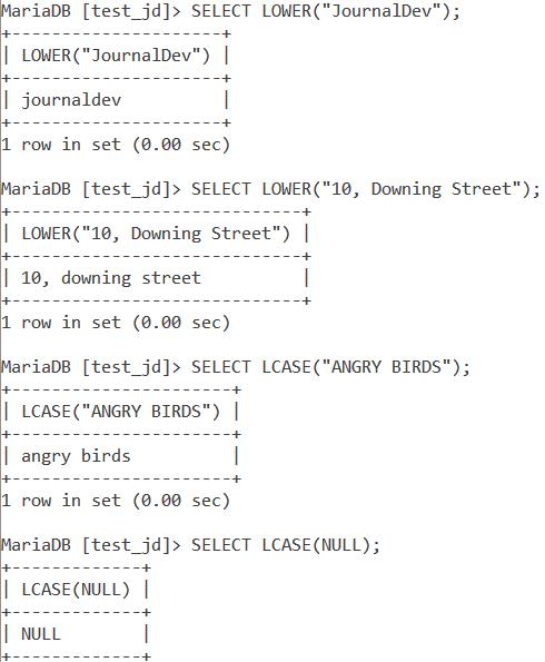MySQL Lower Lcase Basic Example