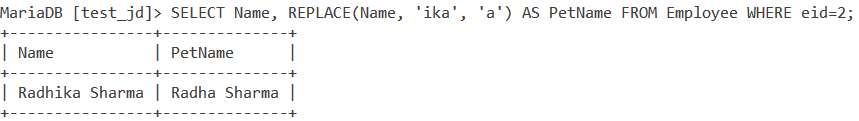 Replace Table Example