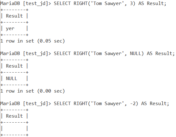 MySQL Right Basic Example