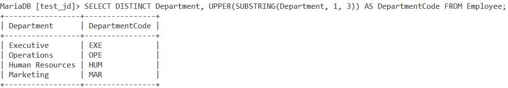 Substr Substring Table 2