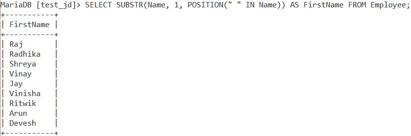 Substr Substring Table 3