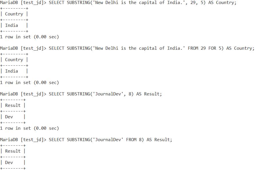 MySQL Substring Example