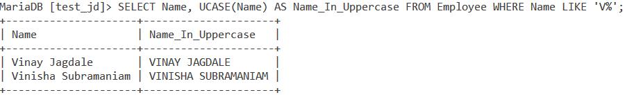 Upper Ucase Table Data2