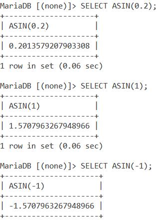 MySQL ASIN Basic Examples