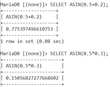 MySQL ASIN Expressions