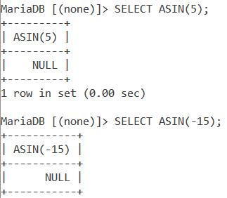 MySQL ASIN Out Of Range