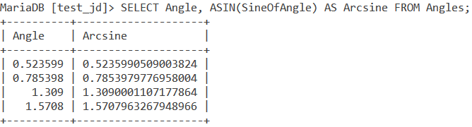 Asin Table Example 1