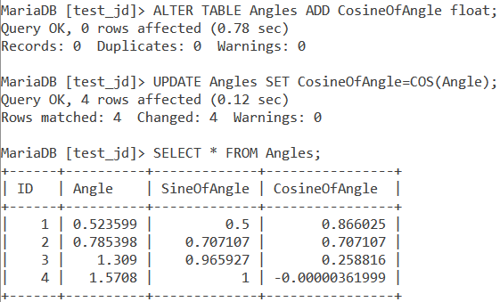 MySQL COS Table Example 2