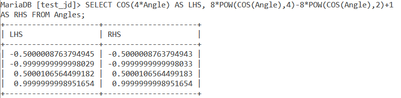 MySQL COS Table Example 3