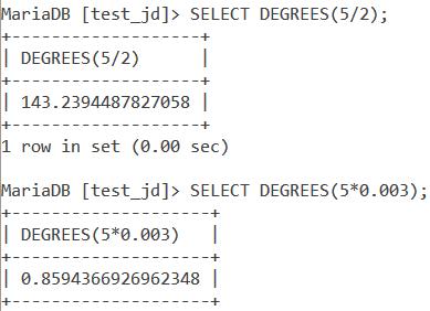 MySQL Degrees Expression