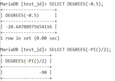 MySQL Degrees Negative Value