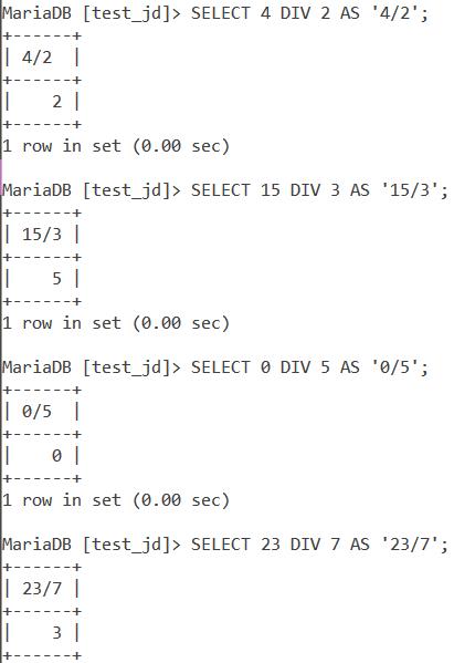 MySQL Div Basic Examples