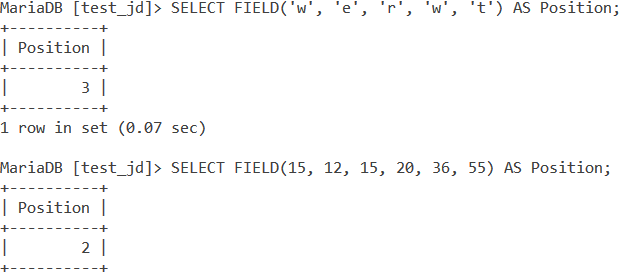 MySQL Field Basic Example