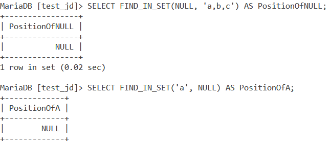 MySQL Find_In_Set Null Example