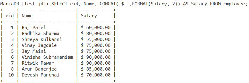 Format Table Example 1
