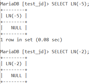 MySQL LN Negative