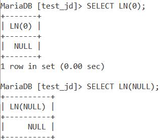 MySQL LN Zero Null