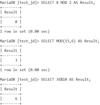 MySQL Mod Basic Examples