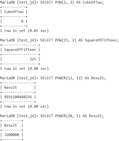MySQL Pow And Power Basic Examples