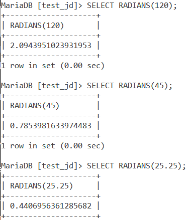 MySQL Radians Basic Example