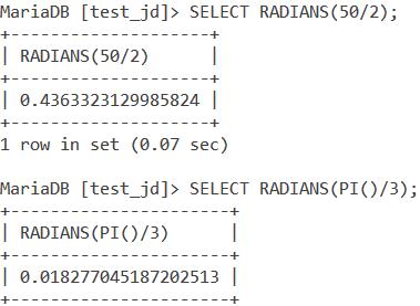 MySQL Radians Expression