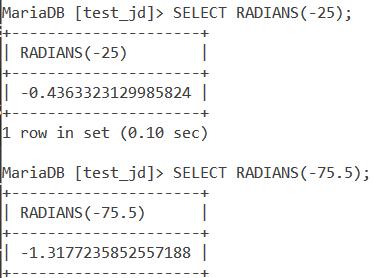MySQL Radians Negative Value