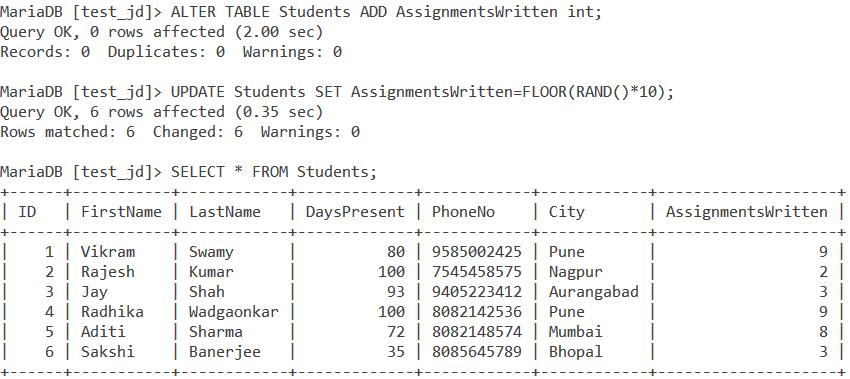 MySQL Rand Table Example 3