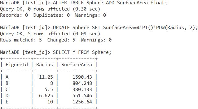 Sphere Surface Area Example MySQL PI