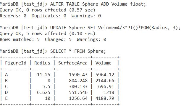 Sphere Volume Example