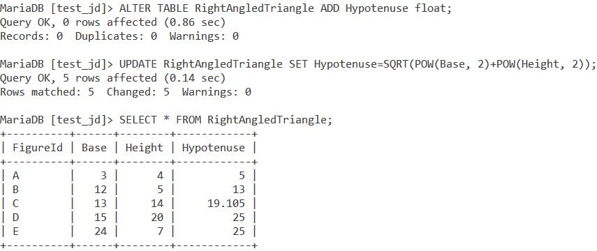 MySQL Sqrt Table Pythagoras Theorem