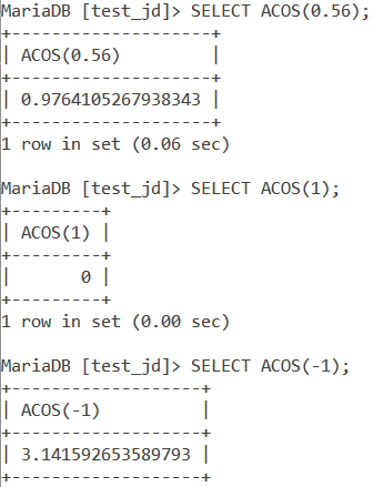 MySQL ACOS Basic Example