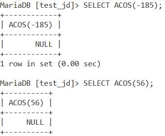 MySQL ACOS Out Of Range