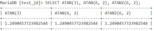 MySQL Atan2 Basic Example 2