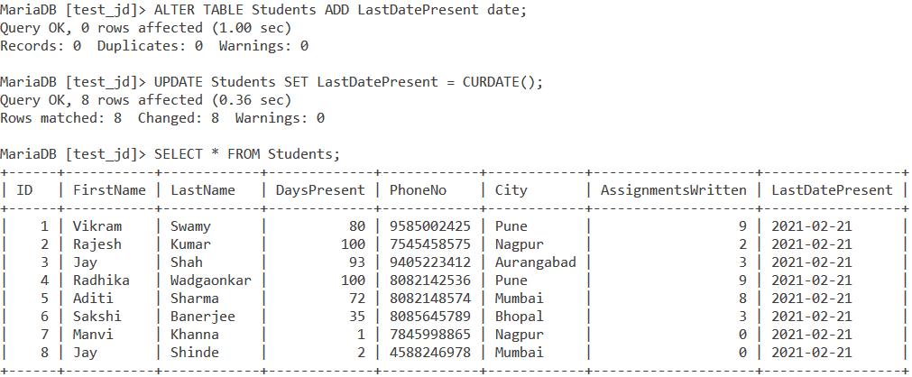 MySQL Curdate Table Example1