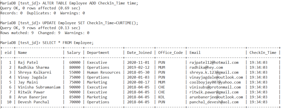 Curtime Table Example