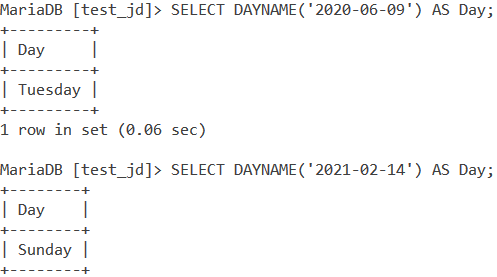 Dayname Basic Example