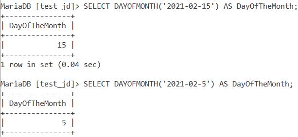 MySQL Dayofmonth Basic Example