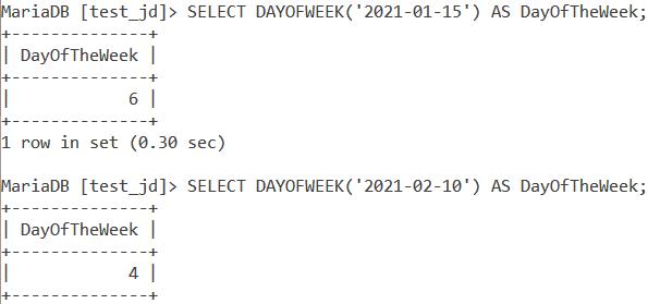 MySQL Dayofweek Basic Example