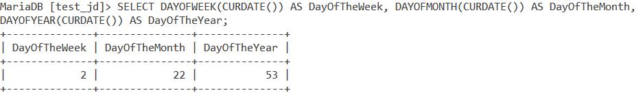 Dayofweek Dayofmonth Dayofyear